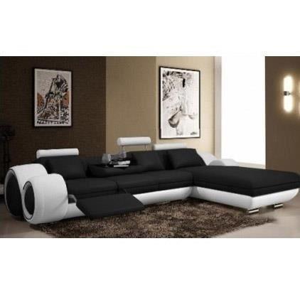 canap d 39 angle cuir relax noir et blanc vilnus achat vente canap sofa divan cdiscount. Black Bedroom Furniture Sets. Home Design Ideas