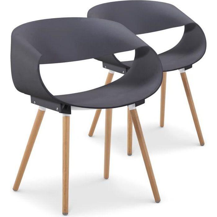 chaise lot de 2 chaises scandinaves design zenata gris - Chaise Scandinave Design