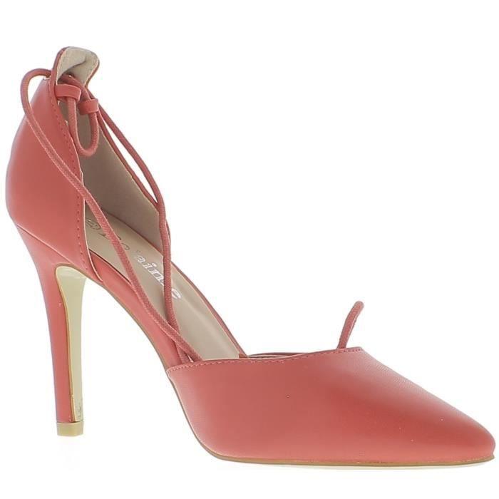 Escarpins rouges ouverts pointus à talon de 10cm avec lacet - Couleur:Rouge Pointure:4