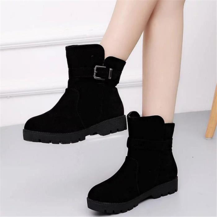 Boots Bottes Femme Homme Chaussures Talons Huats en Suède Chaud Rétro Martin de bottes Autumne-Hiver