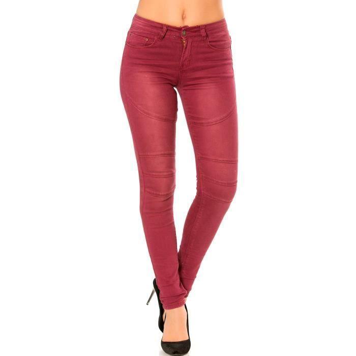 Miss Wear Line - Pantalon jean slim bordeaux avec poches avant et arrière  et coutures apparentes 5f442c0b789e