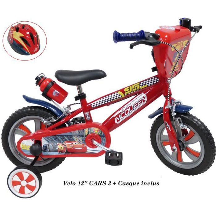 """VÉLO ENFANT Vélo 12 pouces """"CARS 3"""" pour enfant de 2 à 4 ans ("""
