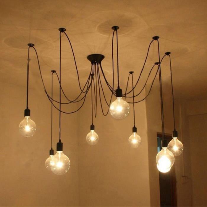 r tro loft industriel luminaires lustre de plafond plafonnier pour la d coration maison achat. Black Bedroom Furniture Sets. Home Design Ideas