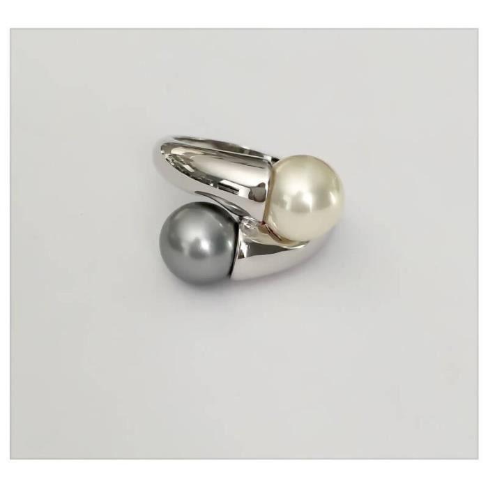 Bague Double Perle Argent Massif 925/1000