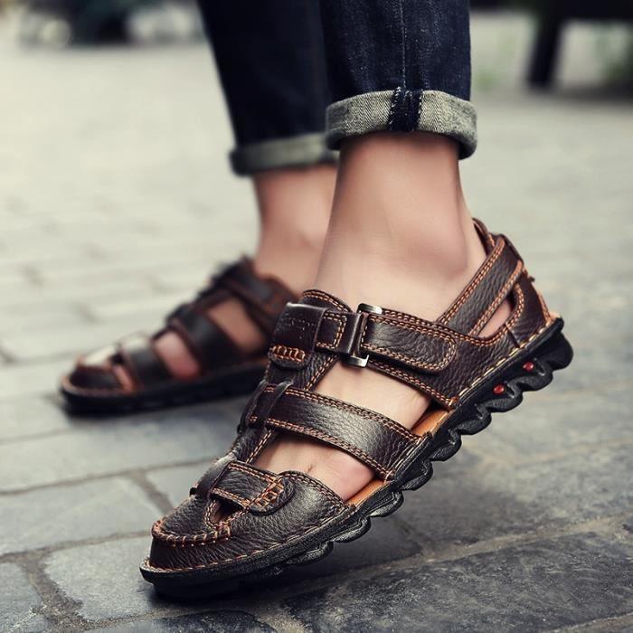 Mode pour hommes épais Sole Vintage Brown Loisirs Chaussures Sandales cool