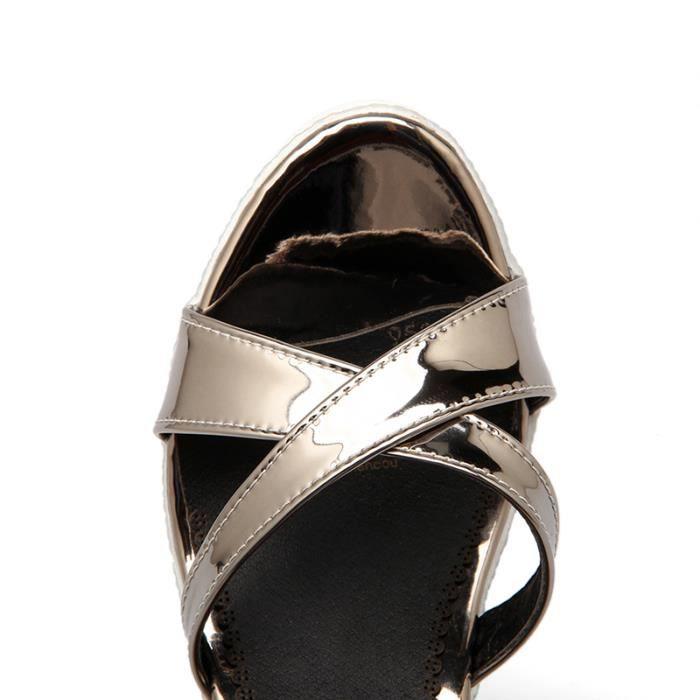 Chaussures d'été mode crossover plateforme talons sandales