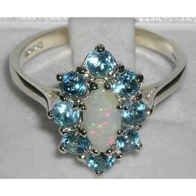 Bague pour Femme en Argent fin 925-1000 sertie d Opale Topaze bleue- Tailles 50 à 64