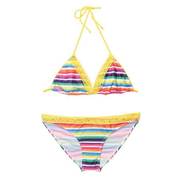 FREEGUN Maillot de bain Lign - Femme - Triangle - Multicolore