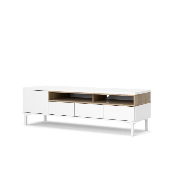 VIBORG Meube TV 1 portes 3 tiroirs - Blanc mat et décor...