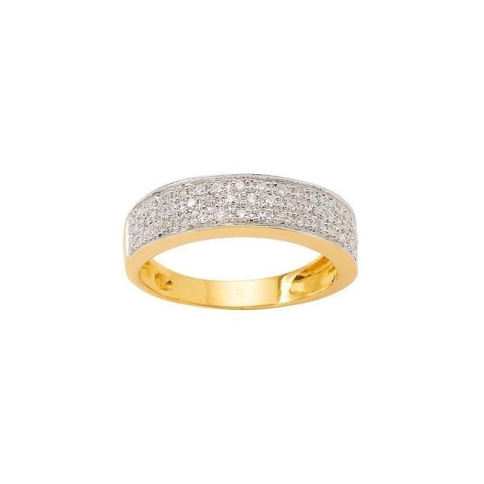 MONTE CARLO STAR - Bague en Or Jaune 18 Carats Pavée de Diamants - Femme