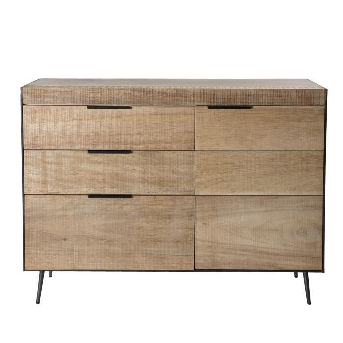BLANCHE Buffet 3 tiroirs 1 porte - Sapin et pieds métal