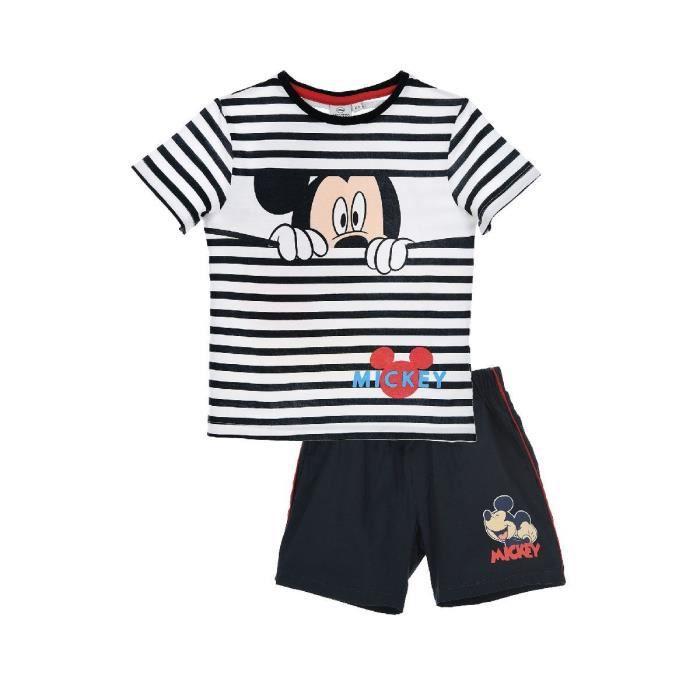MICKEY Ensemble Short + T-shirt Manches Courtes Bleu Sérigraphié Enfant Garçon