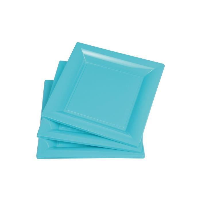 Lot de 6 assiettes carrées jetables 16,5x16,5 cm bleu