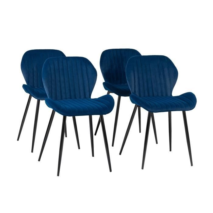 PORTO Lot de 4 Chaises pieds métal - Velours Bleu - L 50 x P...