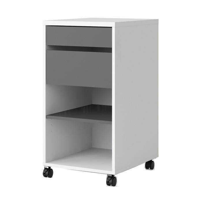 Panneaux de particules décor blanc et gris - L 40,2 x P 48,2 x H 76,9 cm - 2 tiroirs et 1 tabletteCAISSON DE BUREAU - DESSERTE DE BUREAU