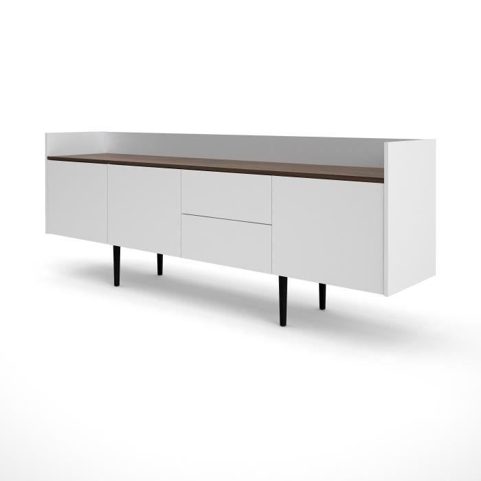 UNIT Enfilade 3 portes 2 tiroirs - Décor noyer et blanc - L...