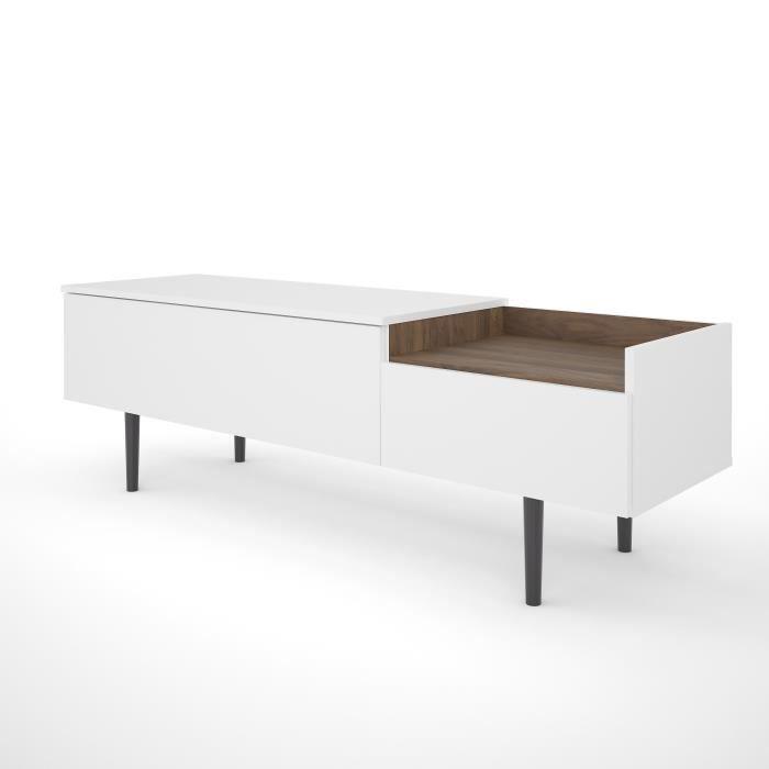 UNIT Meuble TV 2 tiroirs - Décor noyer et blanc - L 147,2 x...