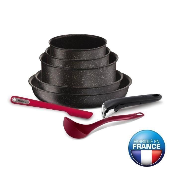 TEFAL INGENIO PIERRE HARDICA Batterie de cuisine 8 pièces YY2959FA 16-18-22-24-28cm Tous feux dont induction noir
