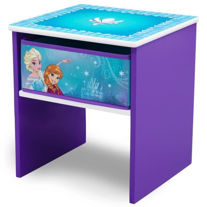 LA REINE DES NEIGES - Table de Chevet Enfant en Bois avec tiroirs - Violet et Multicolore