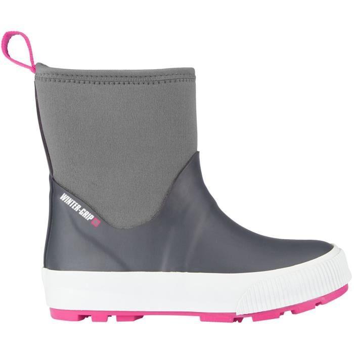 Enfant - Gris et rose - Imperméables - Tige néoprène - Semelle caoutchouc - Languette sur le hautAPRES-SKI - SNOWBOOT - BOOTS DE SKI
