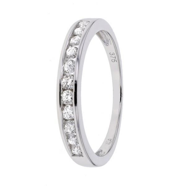 MONTE CARLO STAR - Demi-Alliance En Or Blanc 9 Carats et Diamants Sertis Rails - Femme