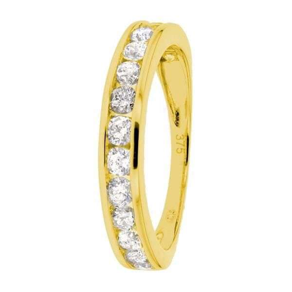 MONTE CARLO STAR - Demi-Alliance En Or Jaune 9 Carats et Diamants Sertis Rails - Femme
