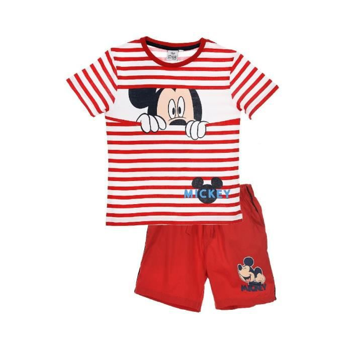 MICKEY Ensemble Short + T-shirt Manches Courtes Rouge Sérigraphié Enfant Garçon