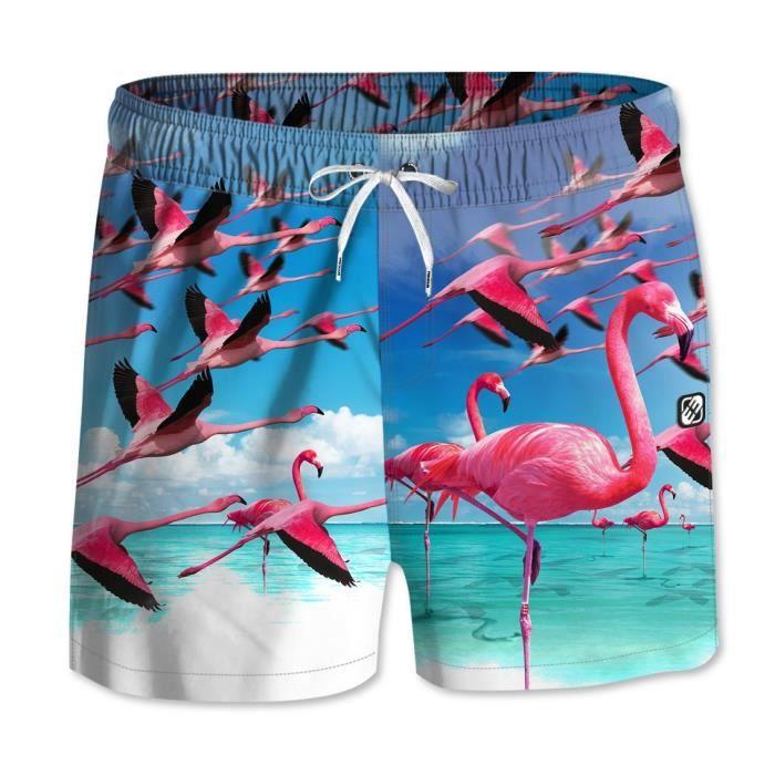 FREEGUN - Boardshort Court Bleu Imprimé Flamingo pour Garçon