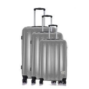 LES P'TITES BOMBES Set de 3 Valises Rigide Polycarbonate 4 Roues 50-60-70 cm ALISON Silver
