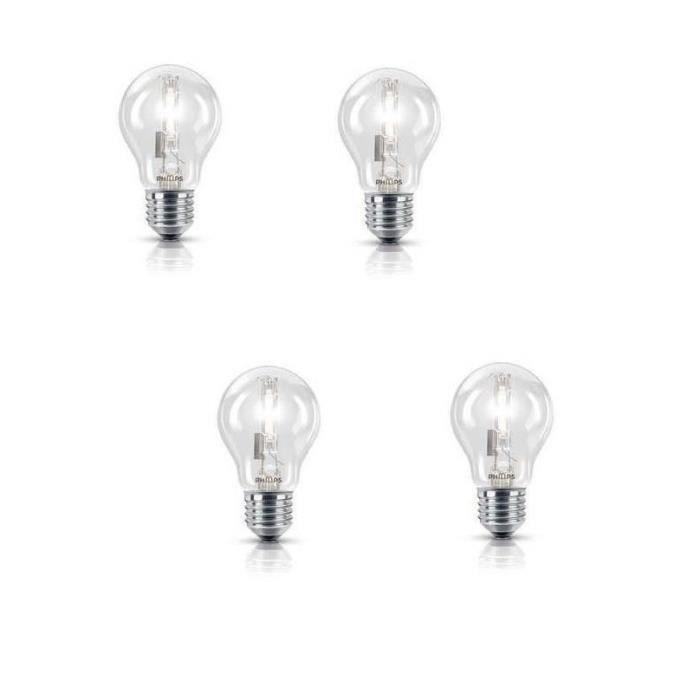 PHILIPS Lot de 4 ampoules halogène standard E27 105 W équivalent à 140 W