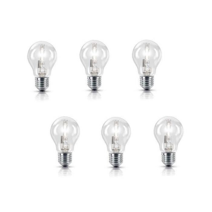 PHILIPS Lot de 6 ampoules halogène standard E27 105 W équivalent à 140 W