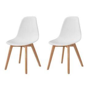 CHAISE SACHA Lot de 2 chaises de salle à manger blanc - P