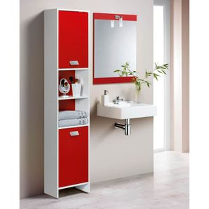 COLONNE - ARMOIRE SDB TOP Colonne de salle de bain L 39 cm - Blanc et ro