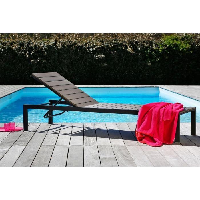 Bain de soleil en aluminium et nowood - Gris - Achat / Vente chaise ...