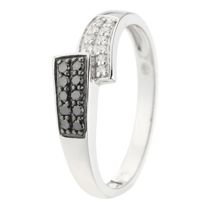 MONTE CARLO STAR Bague Or Blanc 375°et Diamants