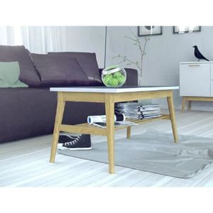 Table basse blanc mat achat vente pas cher for Table basse scandinave mat