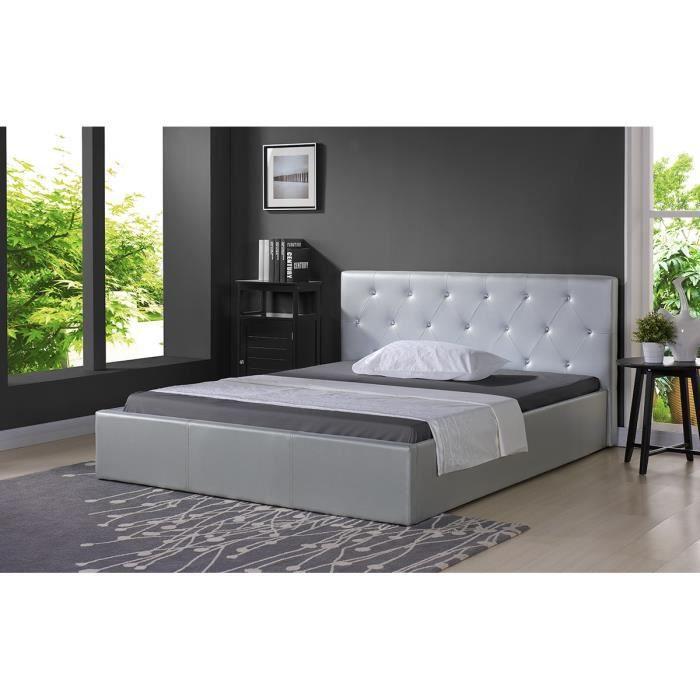 bahia lit coffre adulte contemporain simili gris argent sommier l 140 x l 190 cm achat. Black Bedroom Furniture Sets. Home Design Ideas