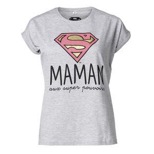 cb54da66b6b0f T-SHIRT SUPERWOMAN Tee-Shirt Maman manches courtes gris ch