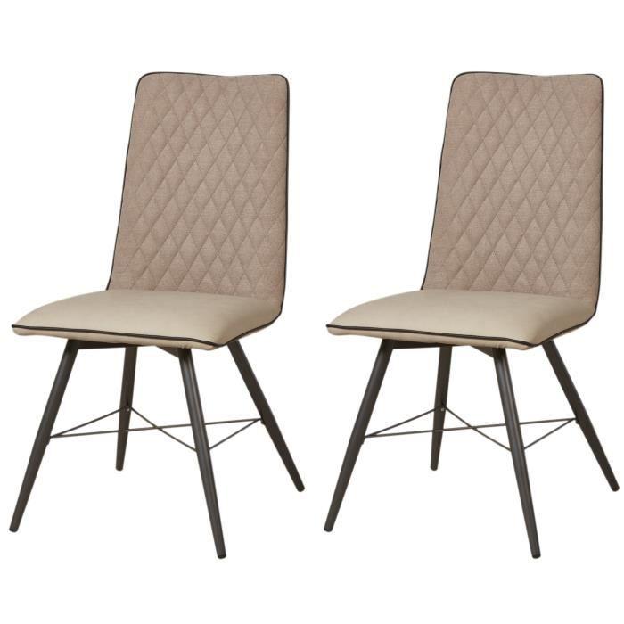SHIMONE Lot de 2 chaises de salle à manger - Simili et tissu taupe - Style  contemporain - L 46 x P 44 cm 07d140842647
