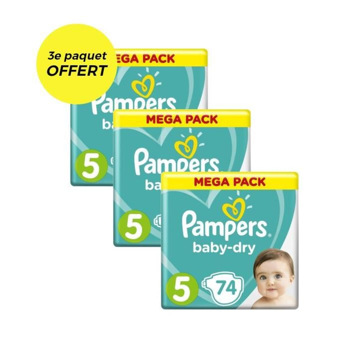 COUCHE PAMPERS Baby Dry Taille 5 - 11 à 23kg - 222 couche