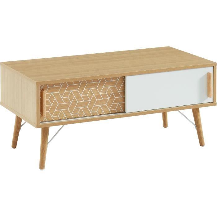 LOUISA Table basse 2 portes - Décor chêne et blanc - L 90 x P 45 x H 40 cm