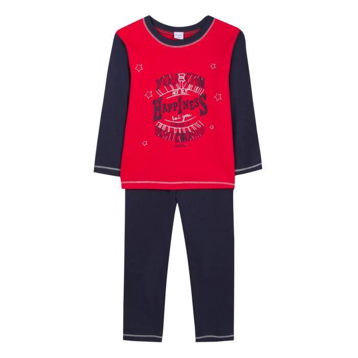 ABSORBA Ensemble Pyjama 2 Pièces Happiness T-shirt + Pantalon Bleu Marine et Rouge Enfant Garçon