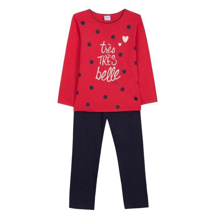 ABSORBA Ensemble Pyjama 2 Pièces Belle T-shirt + Pantalon Bleu Marine et Rouge Enfant Fille