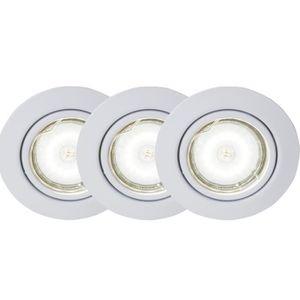 BRILLIANT Kit de 3 spots encastrable orientables LED Honor diam?tre 9 cm GU10 5W blanc