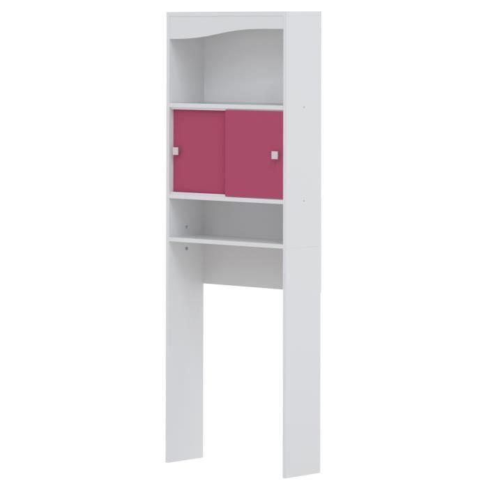 Panneaux particules mélaminés blanc - L 64 x P 19 x H 178 cm - 2 portes coulissantes, étagères - Fabrication françaiseCOLONNE WC - ARMOIRE WC - COFFRAGE WC - PONT WC