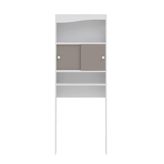 Panneaux particules mélaminés blanc et taupe - L 64 x P 19 x H 178 cm - 2 portes coulissantes, étagères - Fabrication françaiseCOLONNE WC - ARMOIRE WC - COFFRAGE WC - PONT WC