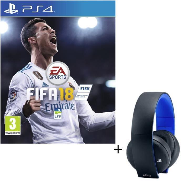 Pack Micro-casque Sony Sans Fil Stéréo 2.0 PS4, PS3, PS Vita + FIFA 18 Jeu PS4