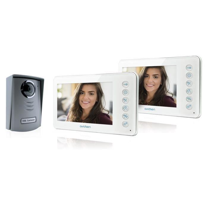 AVIDSEN Visiophone 2 fils Ylva avec 2 écrans LCD couleur ultra plat 4,3 pouces