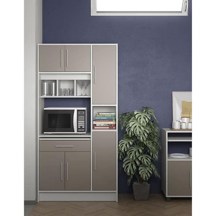 91x40x180 cm - 6 portes + 1 tiroir + 5 niches + 1 plateau coulissant - Taupe et blanc - Fabrication française