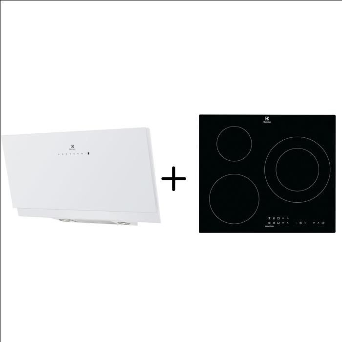 ELECTROLUX EFV90673OW - Hotte décorative murale - Hotte pilotée par la table - Blanc + CIT60331CK - Table induction Pack encastrable
